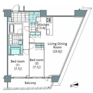 2LDK Mansion in Shinjuku - Shinjuku-ku Floorplan