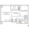 2LDK Apartment to Rent in Shinjuku-ku Floorplan