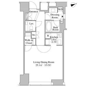 新宿區西新宿-1R公寓 房間格局