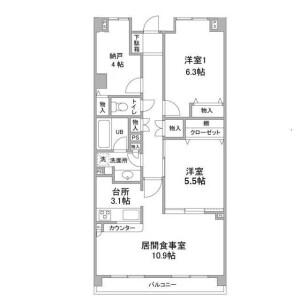 2SLDK Mansion in Hinodecho - Adachi-ku Floorplan