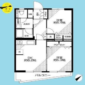 2DK {building type} in Shirasagi - Nakano-ku Floorplan