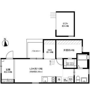 1LDK Mansion in Nishigokencho - Shinjuku-ku Floorplan