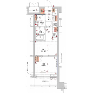新宿区山吹町-1DK公寓大厦 楼层布局