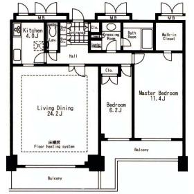 2LDK Mansion in Kawadacho - Shinjuku-ku Floorplan