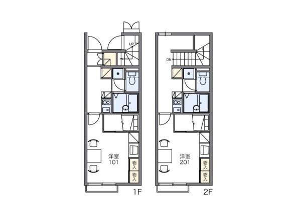 在船橋市内租赁1K 公寓 的 楼层布局