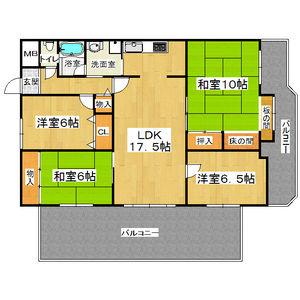 4LDK Mansion in Omiyacho - Nara-shi Floorplan