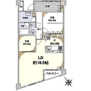 2LDK {building type} in Nakameguro - Meguro-ku Floorplan