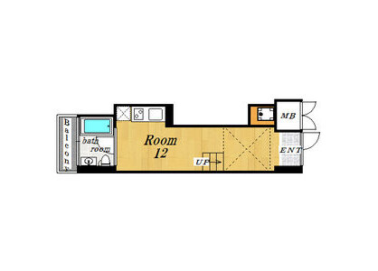 1R Apartment to Rent in Osaka-shi Minato-ku Floorplan