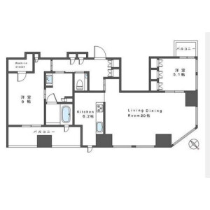 2LDK Mansion in Nishishinjuku - Shinjuku-ku Floorplan