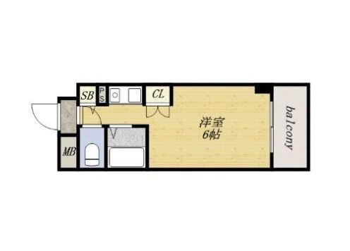 1R Apartment to Rent in Osaka-shi Higashinari-ku Floorplan