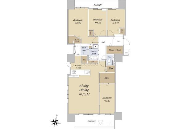 4LDK Apartment to Buy in Sapporo-shi Chuo-ku Floorplan