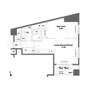 1LDK Mansion in Irifune - Chuo-ku Floorplan