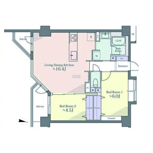 2LDK Apartment in Kitashinagawa(1-4-chome) - Shinagawa-ku Floorplan