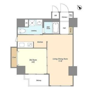 1LDK Mansion in Akasaka - Minato-ku Floorplan