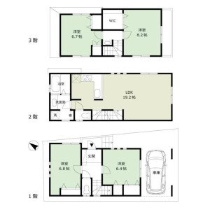 世田谷區上野毛-4LDK獨棟住宅 房間格局
