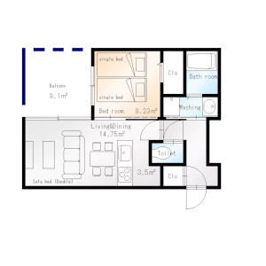 1LDK Mansion in Kita5-jonishi(1-24-chome) - Sapporo-shi Chuo-ku Floorplan