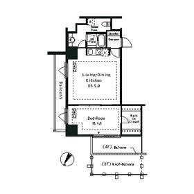1LDK Apartment in Shirokanedai - Minato-ku Floorplan