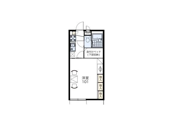 1K Apartment to Rent in Shiroi-shi Floorplan