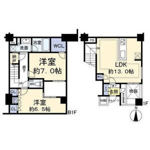 2LDK Mansion in Nakano - Nakano-ku Floorplan