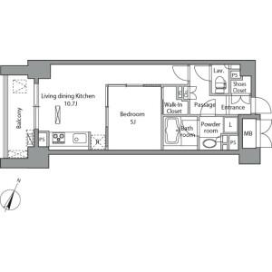 1LDK Mansion in Misakicho - Chiyoda-ku Floorplan
