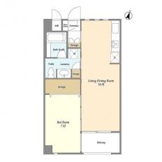 1LDK Mansion in Himonya - Meguro-ku Floorplan