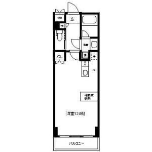 新宿區北新宿-1R公寓 房間格局