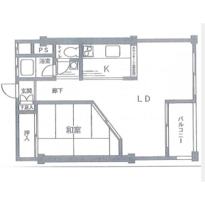 1LDK Apartment in Hiyoshi - Yokohama-shi Kohoku-ku Floorplan