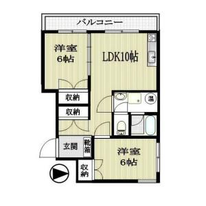 2LDK Mansion in Okubo - Shinjuku-ku Floorplan