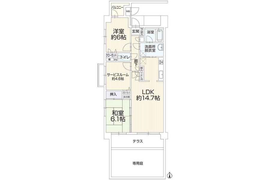 2SLDK Apartment to Buy in Yokohama-shi Kohoku-ku Floorplan