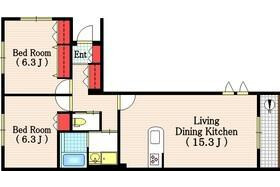 2LDK Apartment to Rent in Setagaya-ku Floorplan