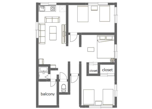3LDK Apartment to Rent in Katsushika-ku Floorplan