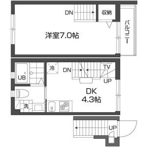 新宿区 西新宿 1DK マンション 間取り