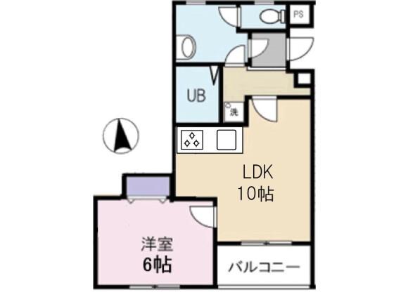 1LDK Apartment to Rent in Ota-ku Floorplan