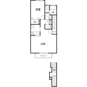 1LDK Apartment in Namiki - Kawagoe-shi Floorplan