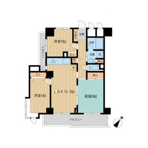 2SLDK 맨션 in Wakamatsucho - Shinjuku-ku Floorplan