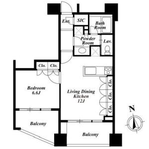 1LDK Apartment in Tomigaya - Shibuya-ku Floorplan