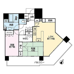 2LDK Mansion in Onoecho - Yokohama-shi Naka-ku Floorplan