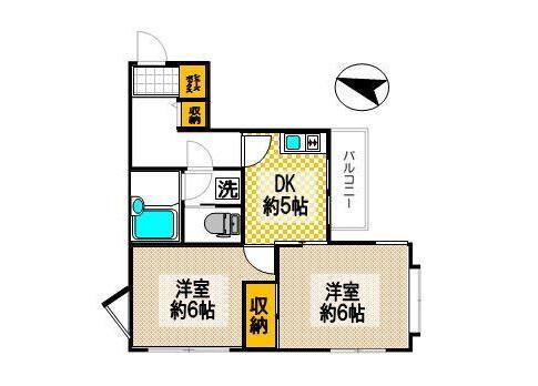 2DK Apartment to Rent in Shinjuku-ku Floorplan
