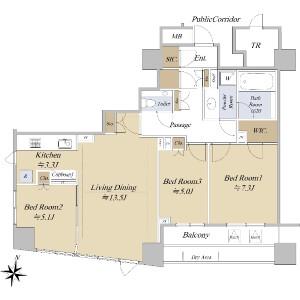 3LDK {building type} in Hirakawacho - Chiyoda-ku Floorplan