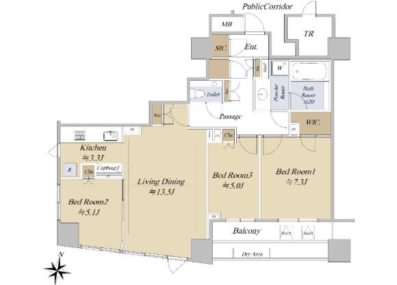 在千代田区购买3LDK 公寓大厦的 楼层布局
