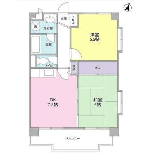 2DK Mansion in Aobadai - Yokohama-shi Aoba-ku Floorplan