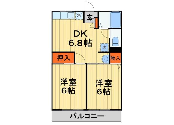 2DK Apartment to Rent in Mobara-shi Floorplan