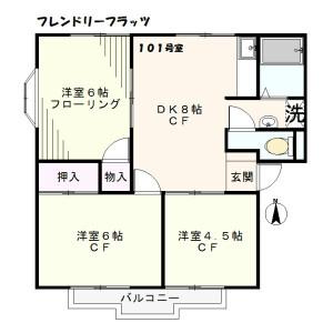 横浜市神奈川区六角橋-3DK公寓 楼层布局