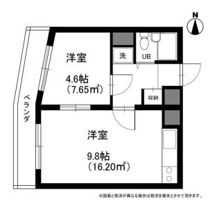1LDK Mansion in Kitashinjuku - Shinjuku-ku Floorplan
