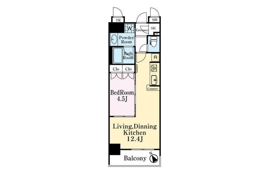 在横濱市中區購買1LDK 公寓大廈的房產 房間格局