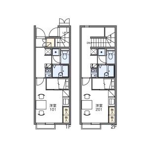 1K Apartment in Hanamigaoka - Fukutsu-shi Floorplan