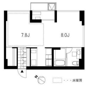 港区白金-1K公寓 楼层布局