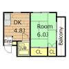 1DK Apartment to Rent in Ibaraki-shi Floorplan