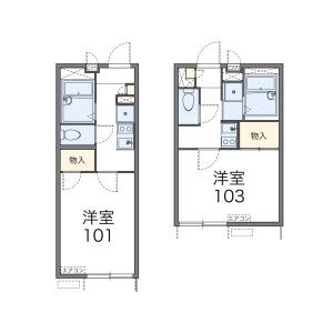 横浜市中区 西竹之丸 1K アパート 間取り