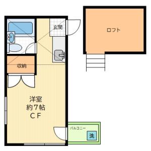 1R Apartment in Wakamiya - Nakano-ku Floorplan